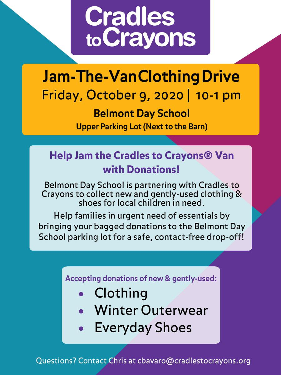 Jam-the-Van Clothing Drive for Cradles to Crayons