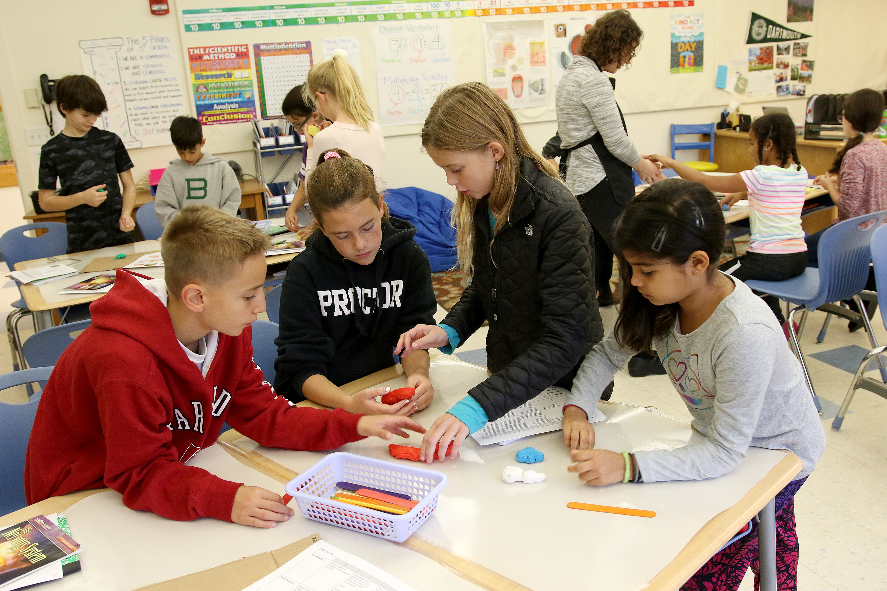Five students collaborate on a writing project