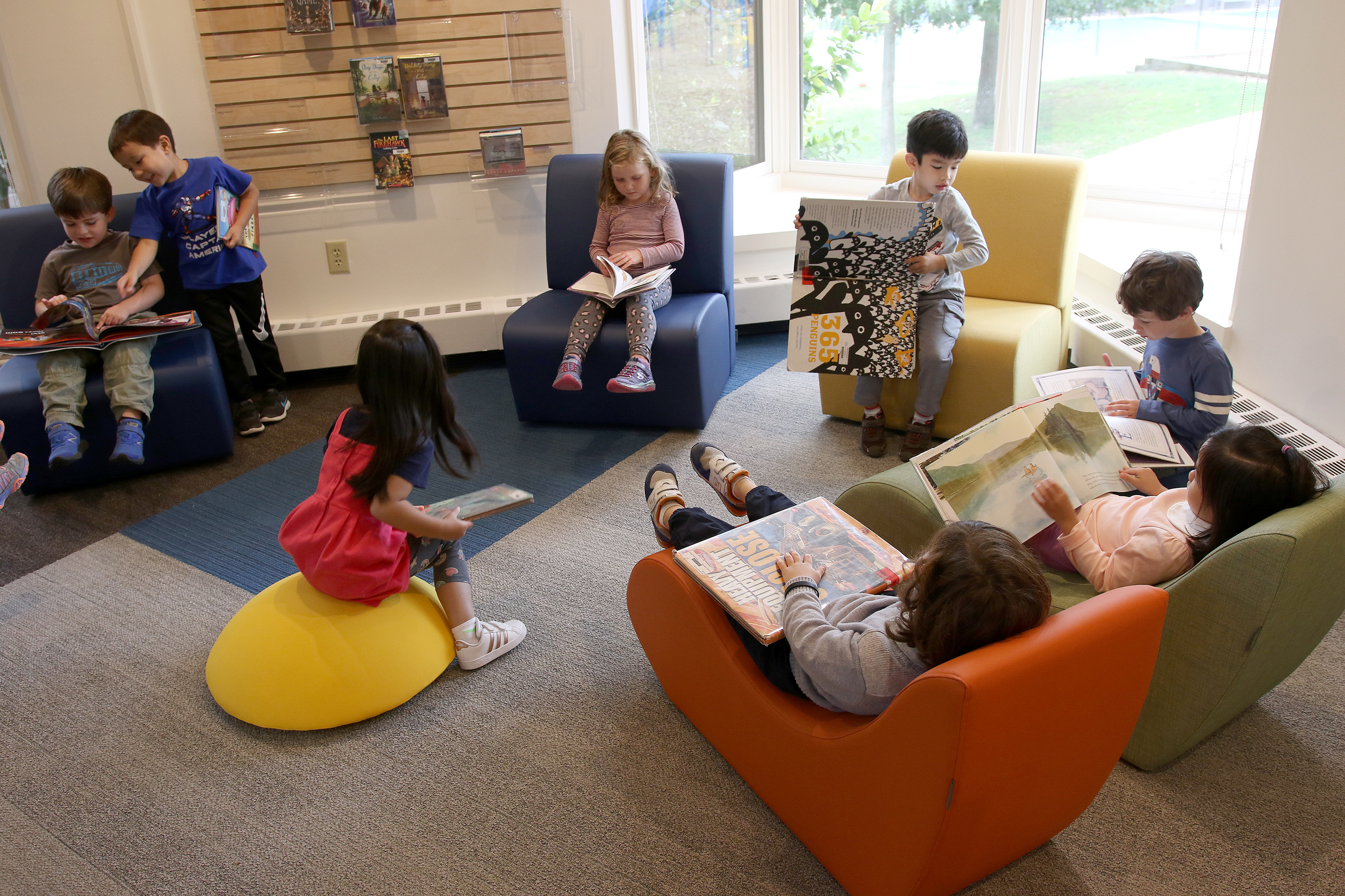 Pre-k students in the Erskine Library