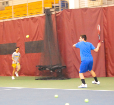 Tennis team practices at Harvard