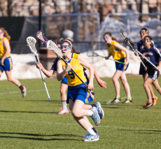 Girls' lacrosse action