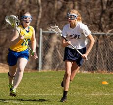 Girls lacrosse action