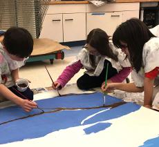 Students work in the art studio