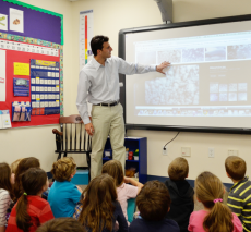 Meteorologist Eric Fisher visits first grade