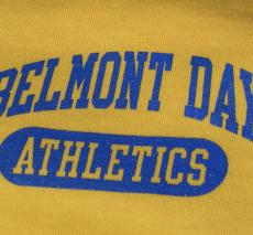 A Blue and Gold Belmont Day team jersey