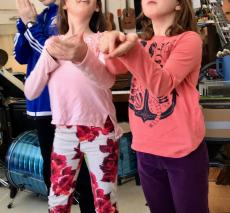 Fifth Grade students create tableaux during their improvisation unit.