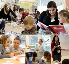 A gallery image of five associate teachers with students