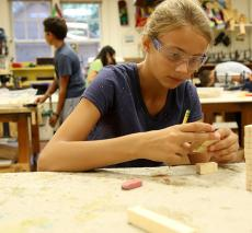 Woodworking Class Sixth Graders