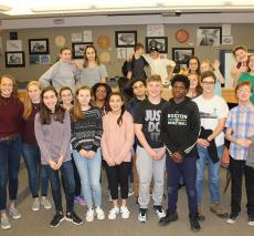 Alumni talk Capstone with eighth graders