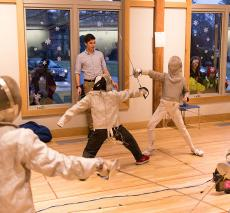 The fencing match vs Beaver Country Day School