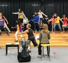 Practicing choreography for grades 7&8 musical, Mary Poppins Jr.
