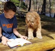 A boy reads with his dog during the summer