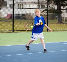 Michael Timmins competes in the tennis team's match vs DCD this week