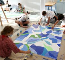 Middle School Students Painting Murals