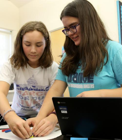 Two girls work on a science lab