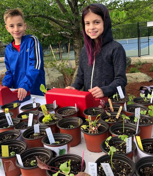 Two students staff the fundraising plant sale