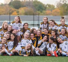 Sara Bauman '16, Meredith Green '16, Giovanna Cima '15, and their BB&N varsity soccer teammates are ISL Champions