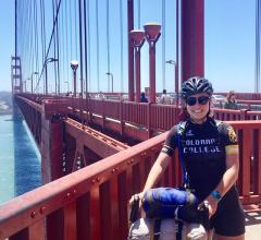 Alumna Cassie Cohen '09 cycling.