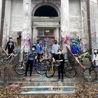 Students Posing With Mountain Bikes