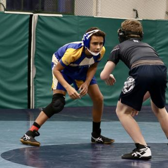 Students In Wrestling Match