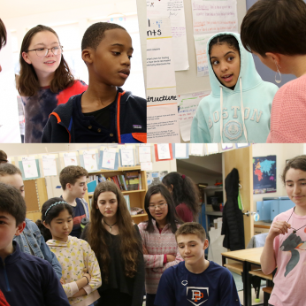 Seventh graders discuss their work