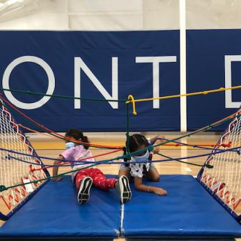 Students in Obstacle Course